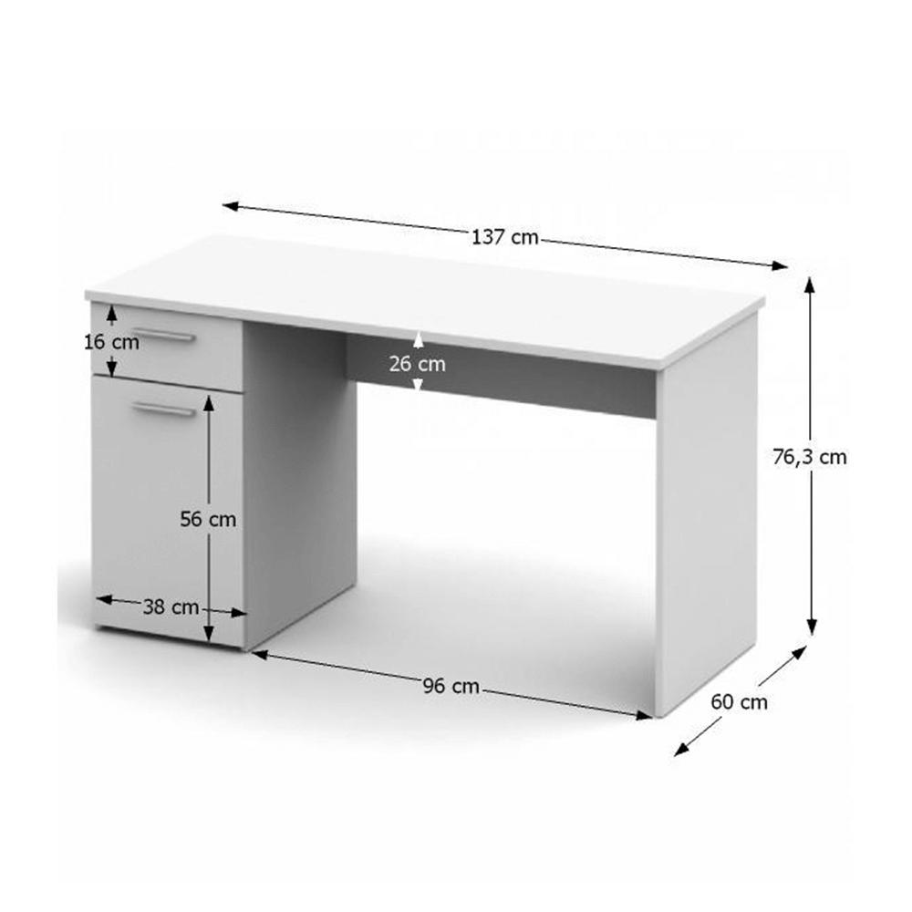 PC stůl, bílá, EGON, TEMPO KONDELA