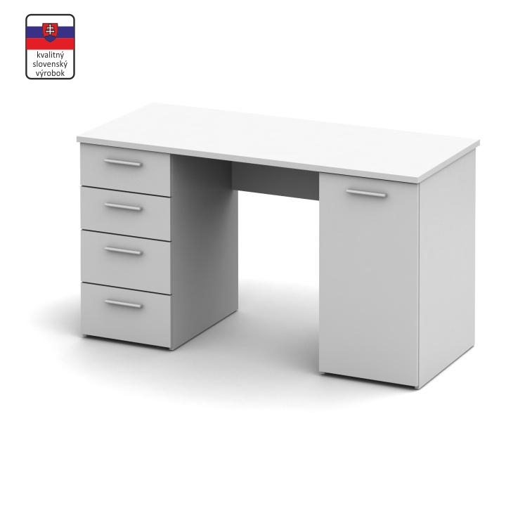 Számítógépasztal, fehér, EUSTACH