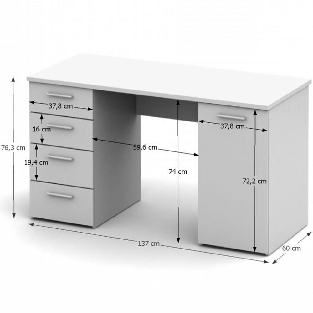 PC stůl, bílá, DTD laminovaná, EUSTACH, TEMPO KONDELA