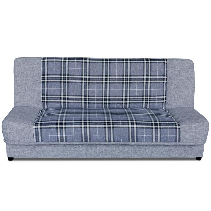 Kinyitható kanapé, szürke/fehér/minta kocka, KARO