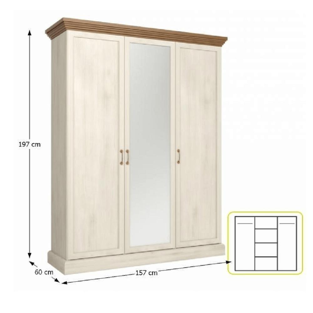 Ansamblu dormitor, pin nordic/stejar sălbatic, ROYAL