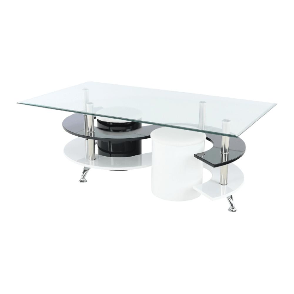 Konferenční stolek, bílá extra vysoký lesk HG / černá extra vysoký lesk HG, RUPERT