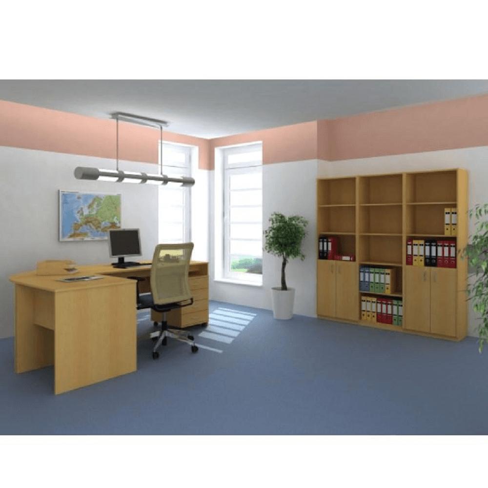 Íróasztal kihúzható billentyűzettartóval, bükk, TEMPO ASISTENT NEW 023