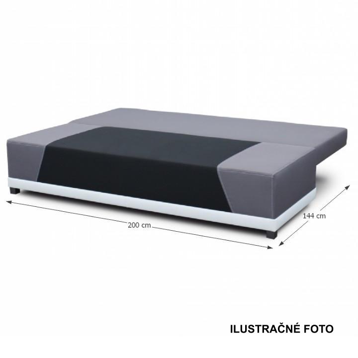 Rozkladacia pohovka, látka čierna/sivá/vankúše sivý vzor, ROKAR
