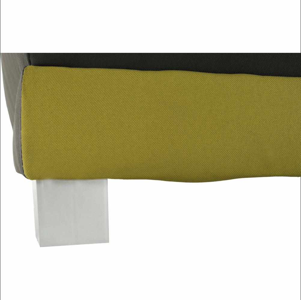 Pohovka rozkládací, šedá / zelená / vzor polštáře, SPIKER