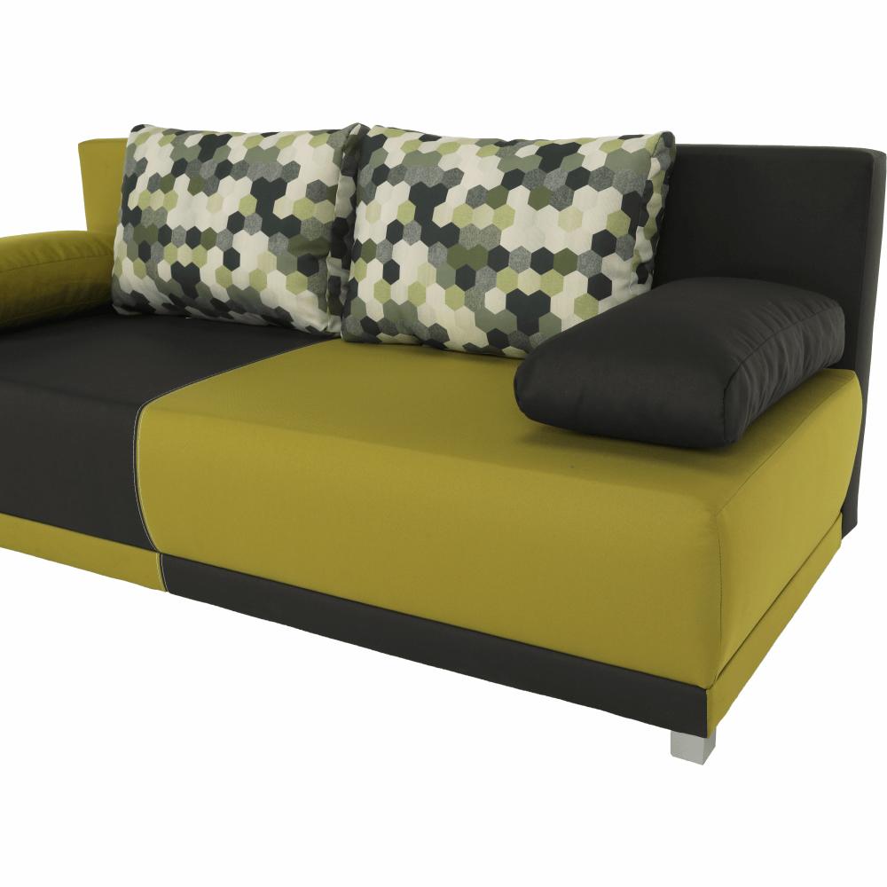 Ülőgarnitúra ágyfunkcióval és ágyneműtartóval, szürke/zöld/díszpárna minta, SPIKER