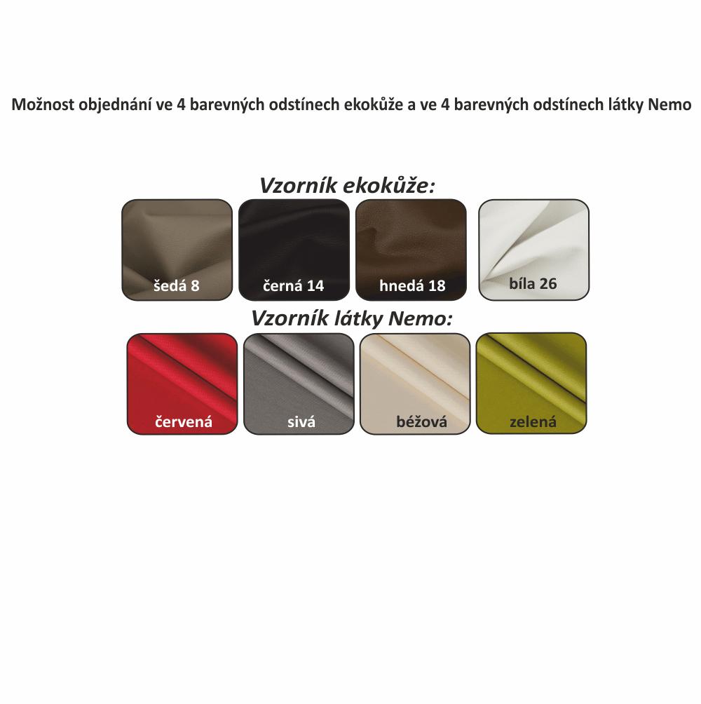 Sedací souprava, ekokůže bílá / látka černá, pravá, MARUTI