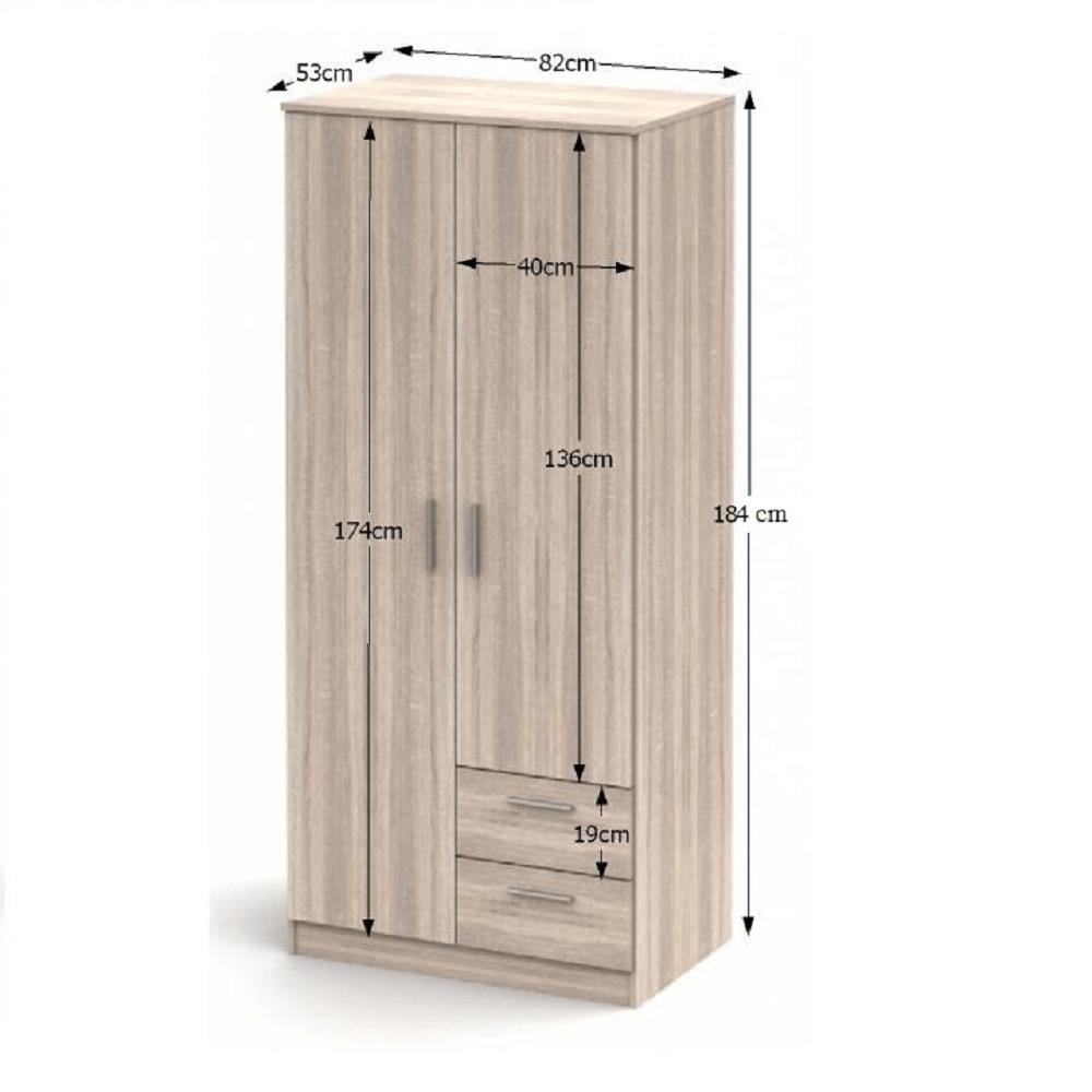 Kétajtós szekrény, tölgy sonoma, NOKO-SINGA 81