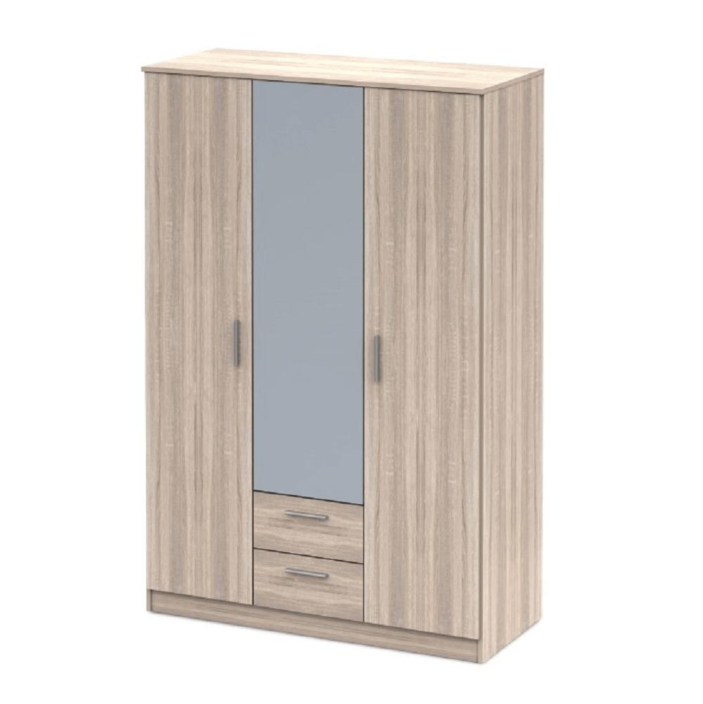 Třídveřová skříň se zrcadlem, dub sonoma NOKO-SINGA 82, TEMPO KONDELA