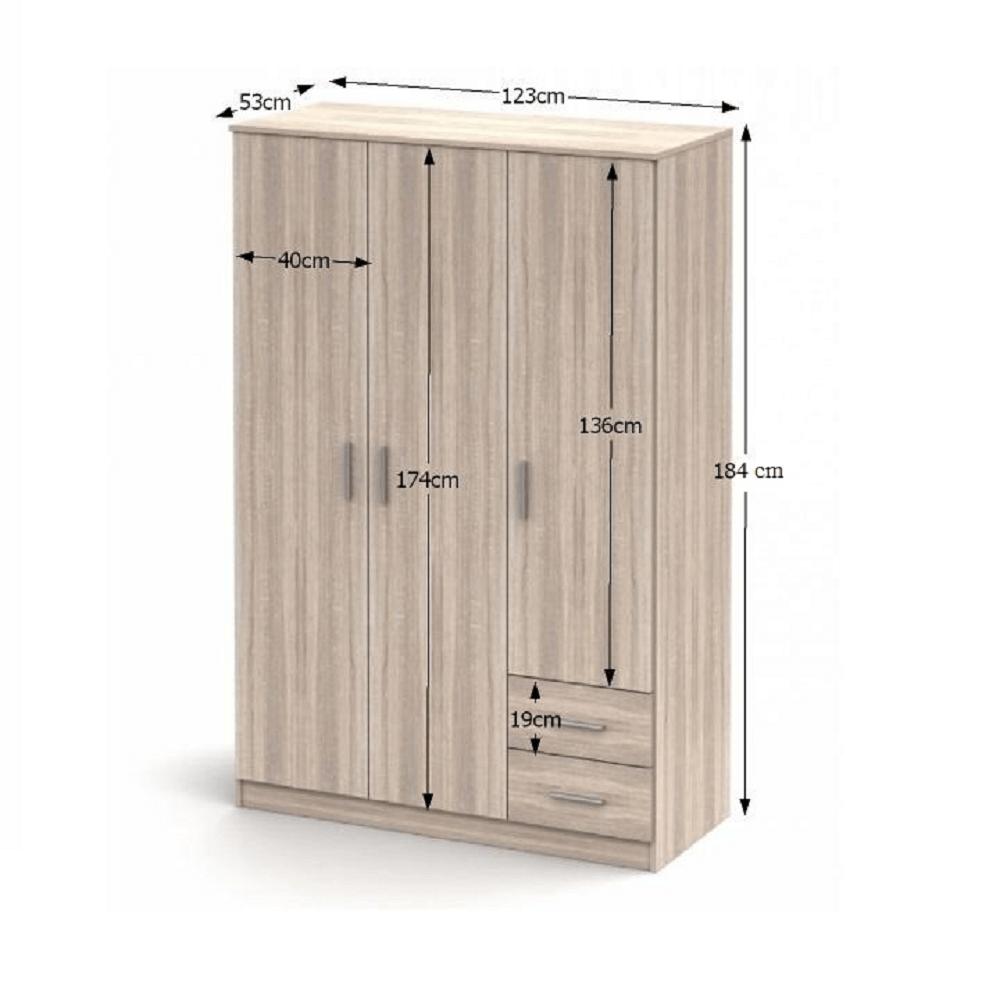 Háromajtós szekrény, tölgy sonoma, NOKO-SINGA 84