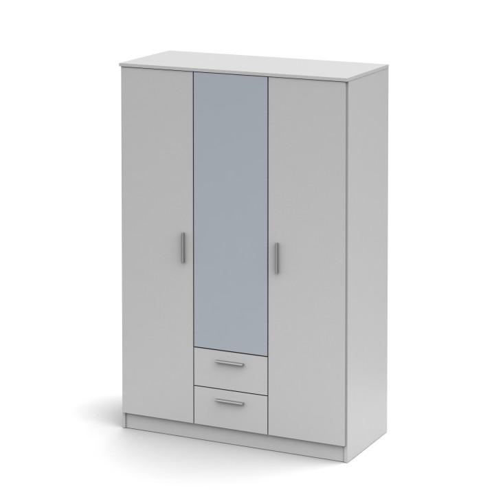 Trojdverová skriňa so zrkadlom, biela, NOKO-SINGA 82