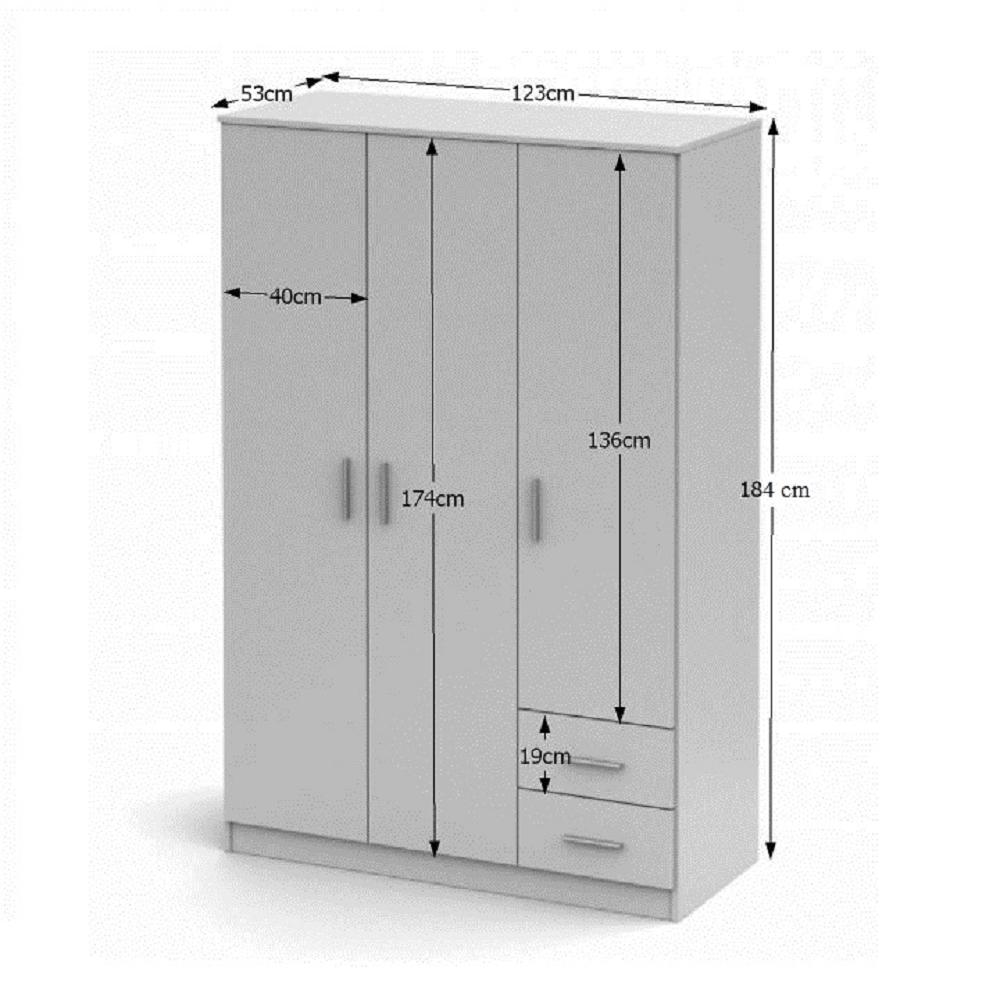 Třídveřová skříň, bílá, NOKO-SINGA 84, TEMPO KONDELA