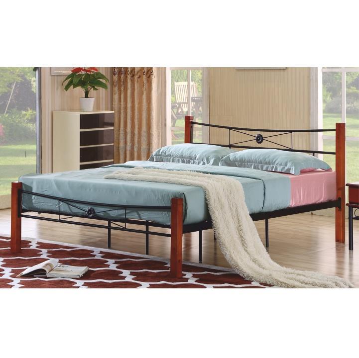 Kovová posteľ s roštom, čierny kov/čerešňa, 160x200, AMARILO