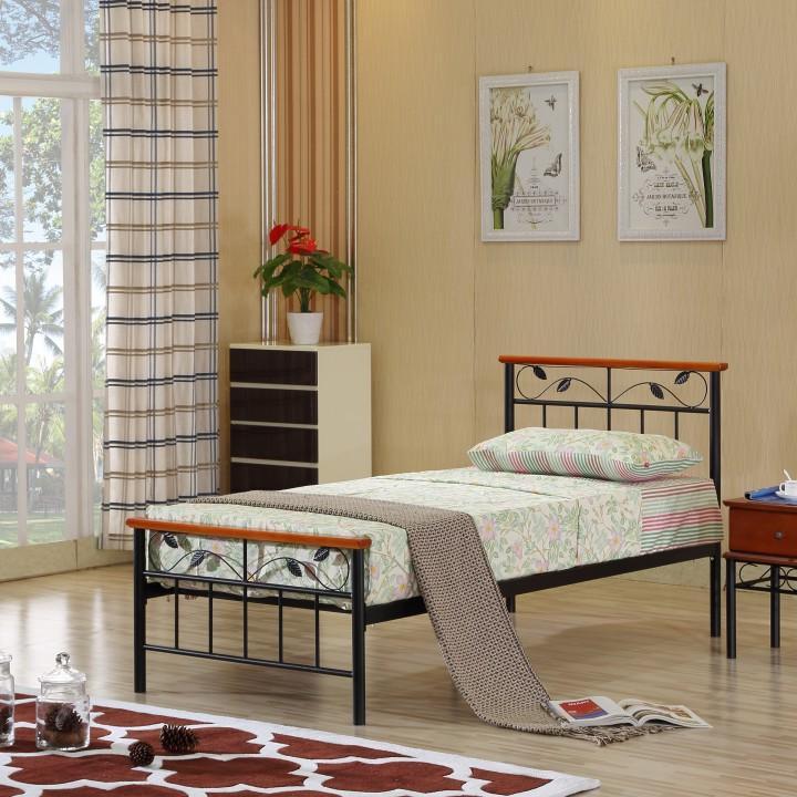 Fém ágy lécezett ráccsal, fém +fa (sötét tölgyfa) , 90x200, MORENA