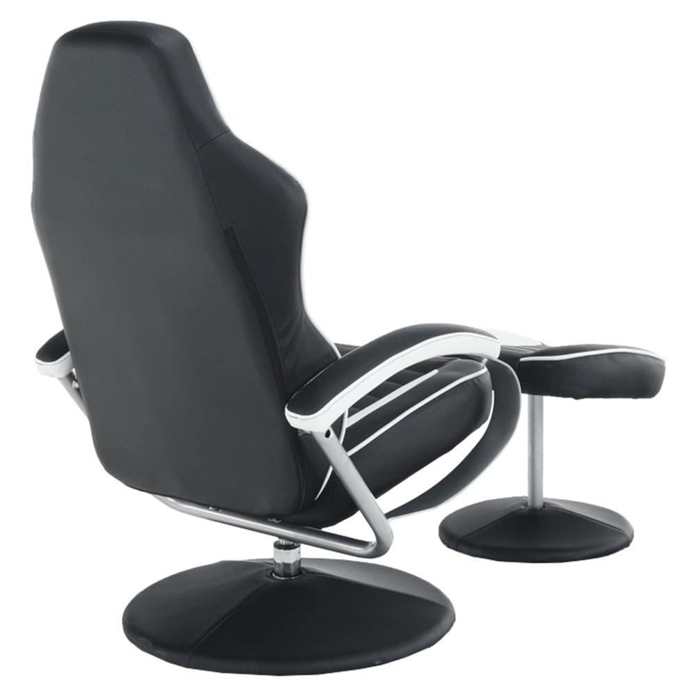 Relaxační křeslo s podnožkou, ekokůže bílo černá, ALDAMIR