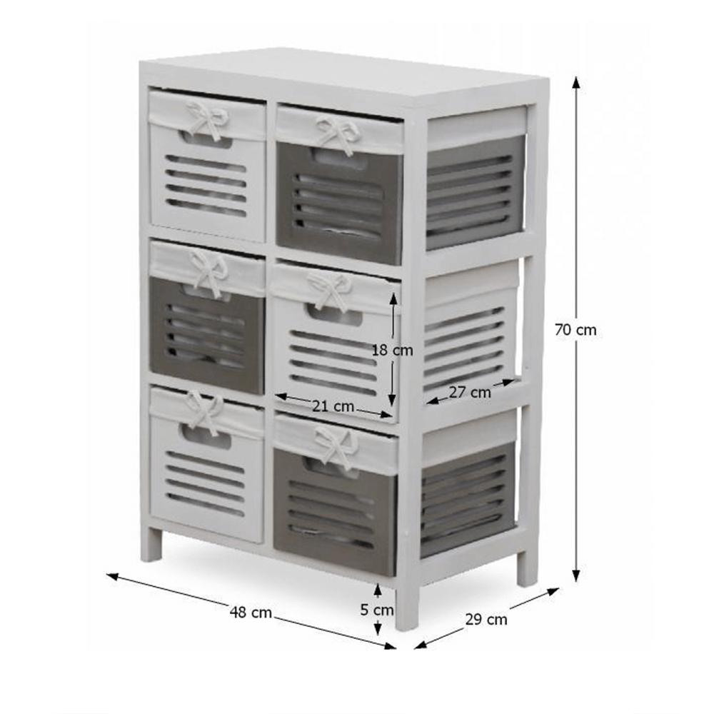 6- šuplíková komoda, biela/sivá, BIBI 6
