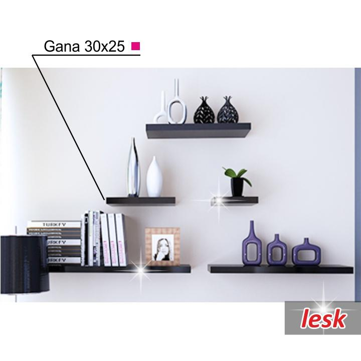 Polcok, fényes fekete, 30x25, GANA