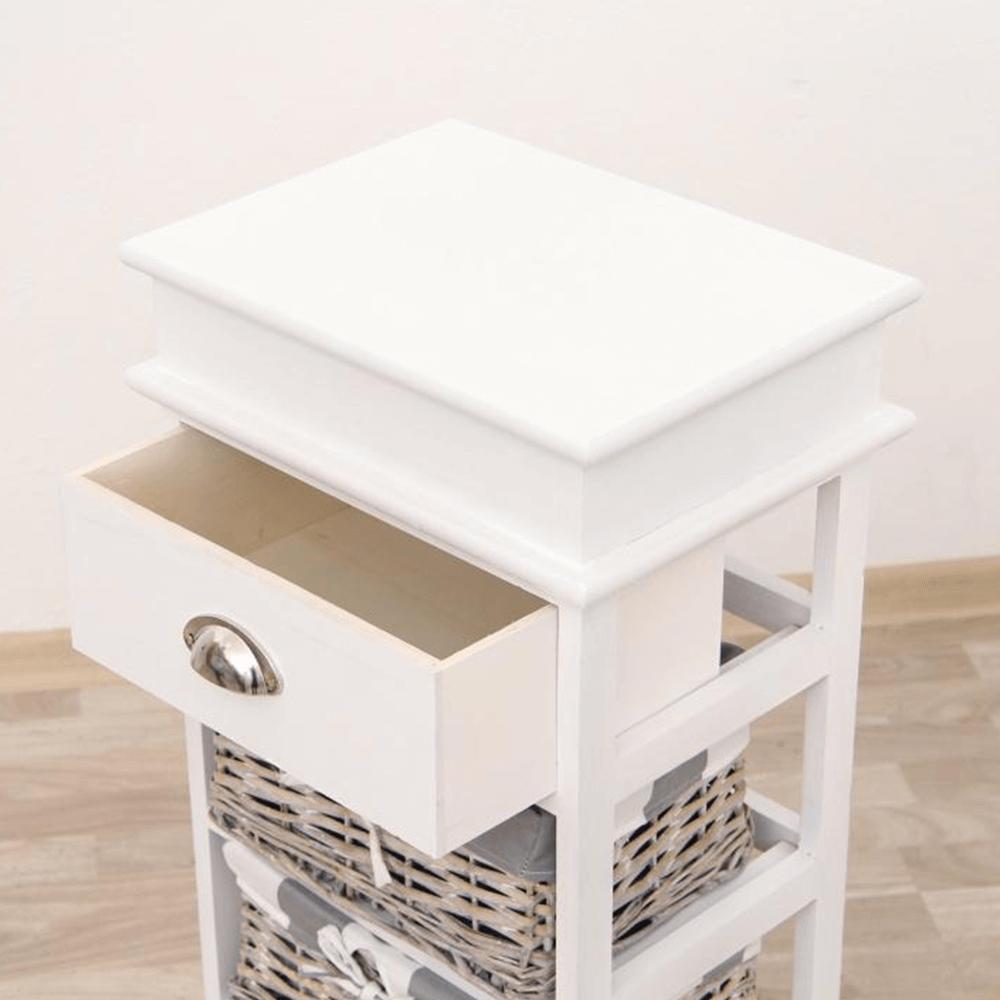 Komoda, 3 košíky, sivá/biela, MATIAS 3