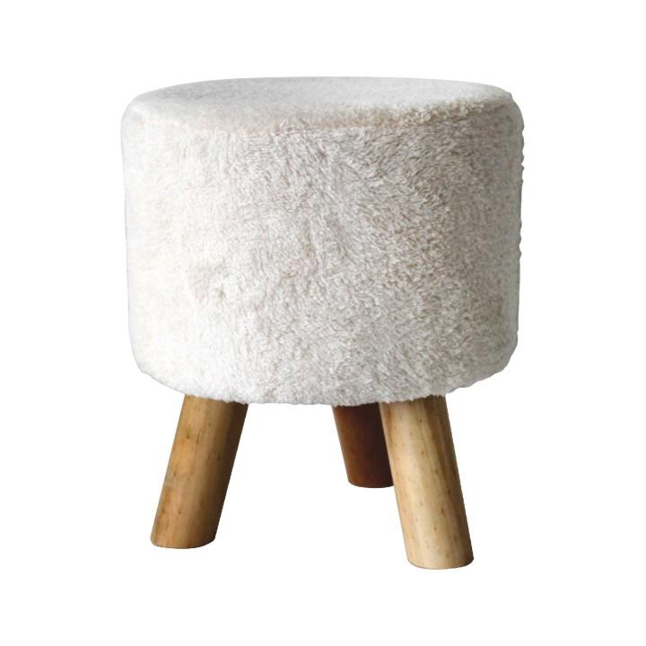 Puff, fehér textil/fa, FUMEL
