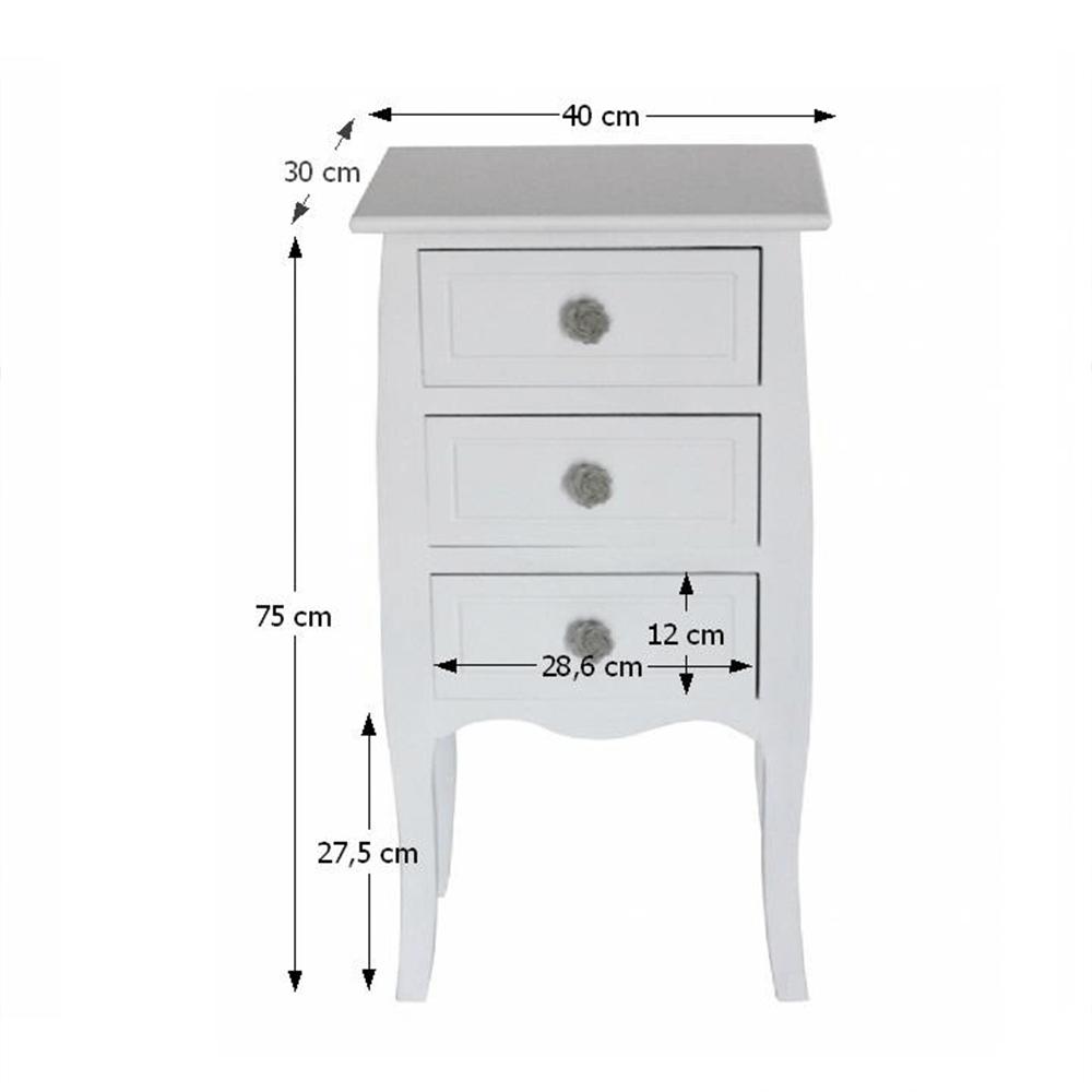 3-šuplíková komoda, bílá, BRAIN 1