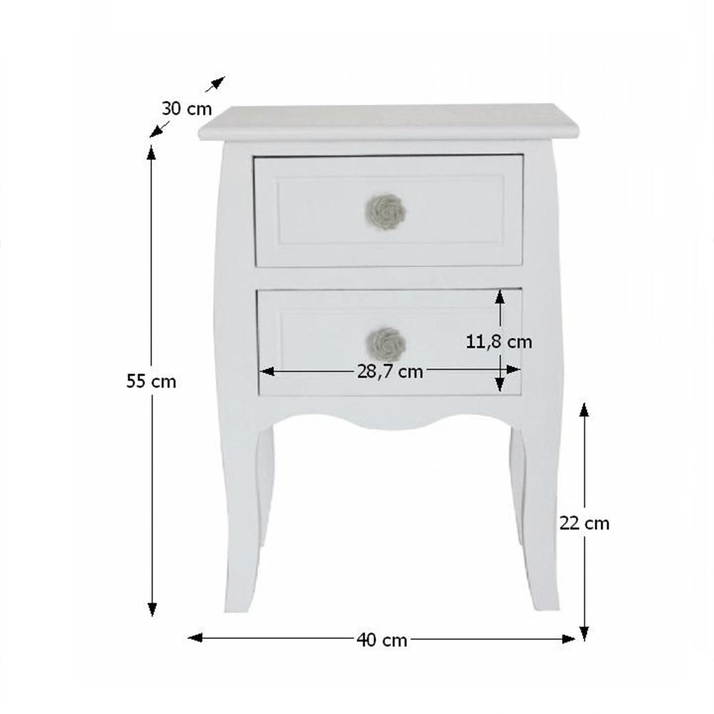 2-šuplíková komoda, bílá, BRAIN 2