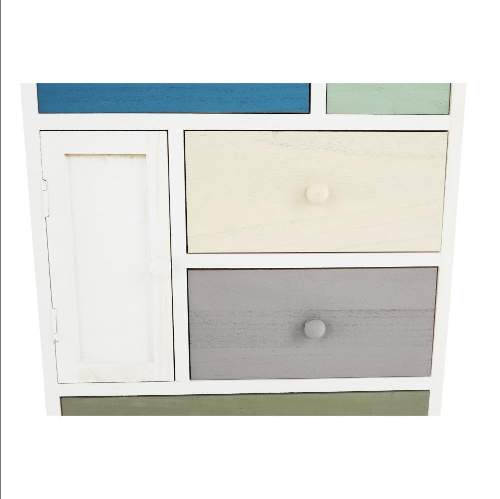 Komoda, bílá / barevné zásuvky, MONET 1, TEMPO KONDELA