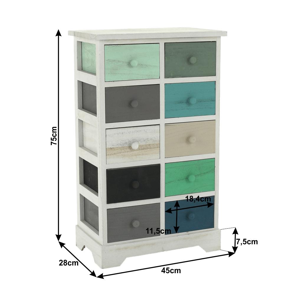 Komoda, bílá / barevné šuplíky, MONET 2