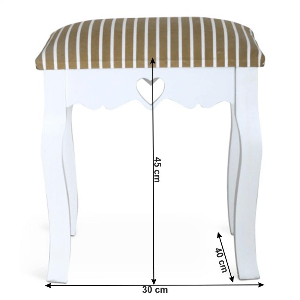 Taburet, bílá / proužkovaný vzor, WAGNER 1
