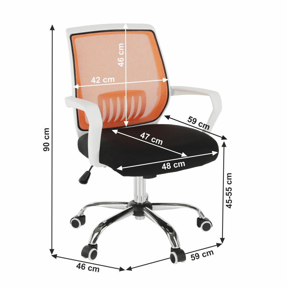 Kancelářské křeslo s černým sedákem, oranžová opěrka, LANCELOT, TEMPO KONDELA