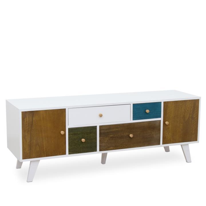 RTV stolík, 4 zásuvky a 2 dvierok, biela / mix farieb, FELINE