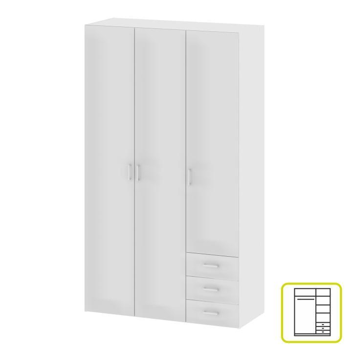3-ajtós szekrény, fehér, GWEN 70427