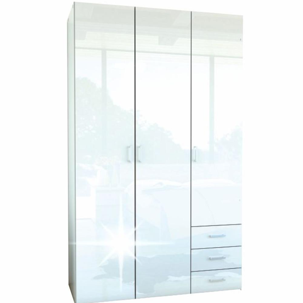 Skříň, 3 - dveřová, bílá extra vysoký lesk HG, GWEN 70427, TEMPO KONDELA