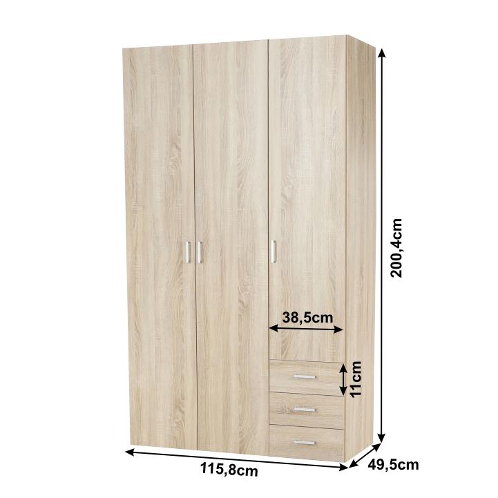 3-ajtós szekrény, sonoma tölgyfa, GWEN 70427