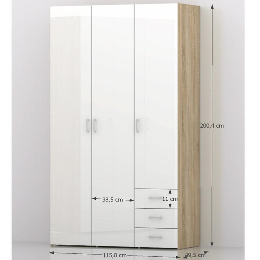 GWEN - skříň, bílá extra vysoký lesk HG / dub sonoma, TEMPO KONDELA