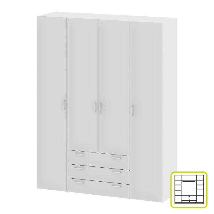 Skriňa, 4 - dverová, biela, GWEN 70429