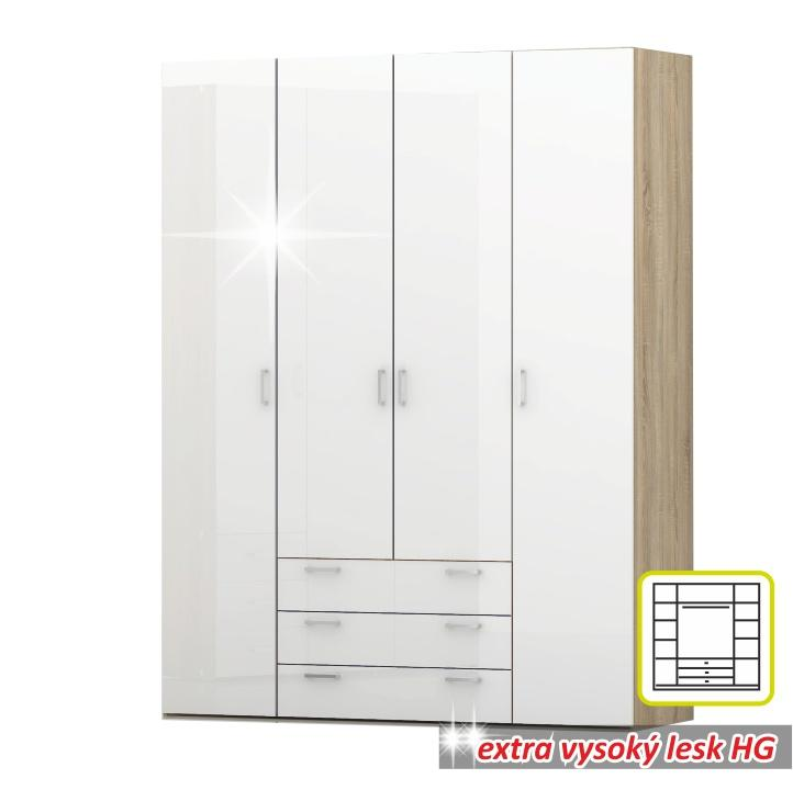 Skriňa, 4 - dverová, dub sonoma / biela extra vysoký lesk HG, GWEN 70429