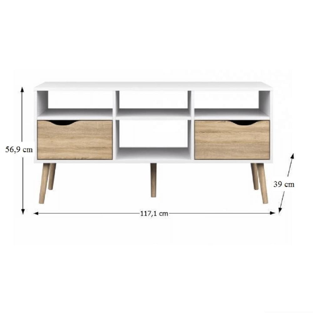 TV stolek / skříňka, dub sonoma/bílá, OSLO 75391, TEMPO KONDELA