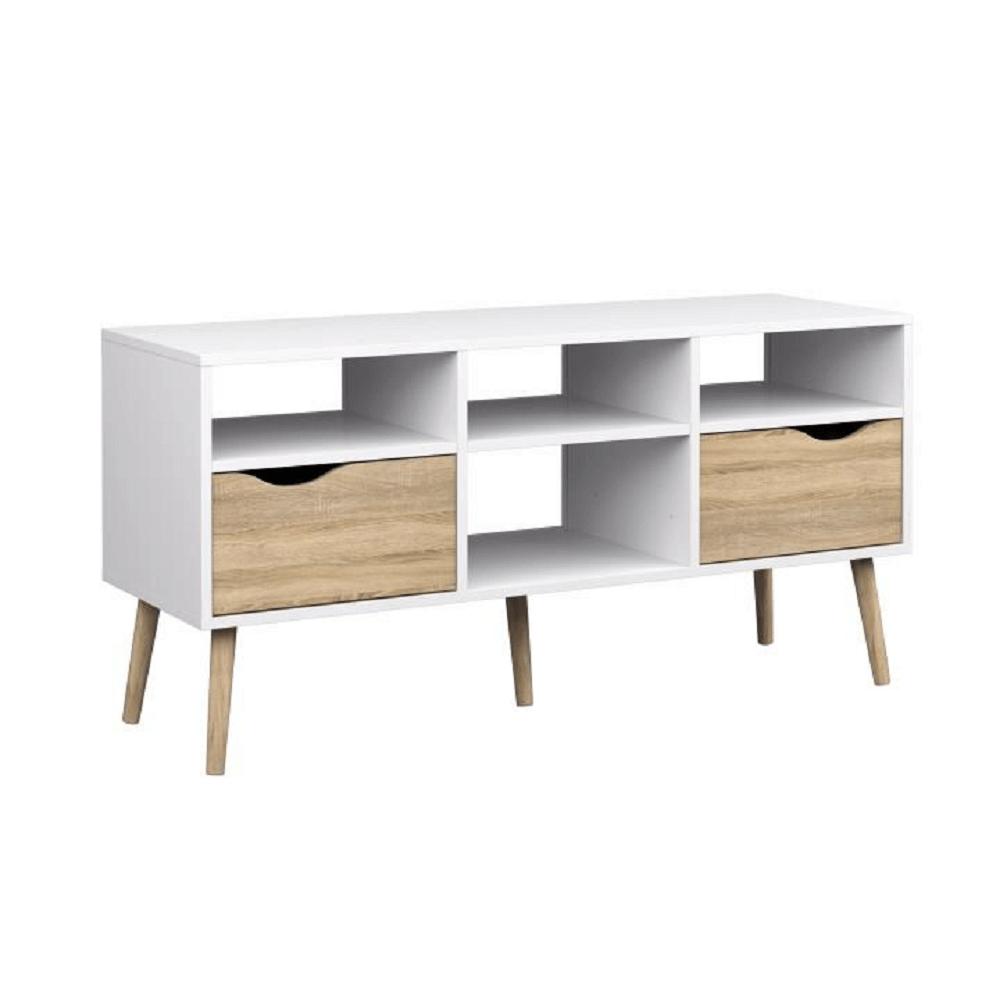 TV stolík/skrinka, dub sonoma/biela, OSLO 75391