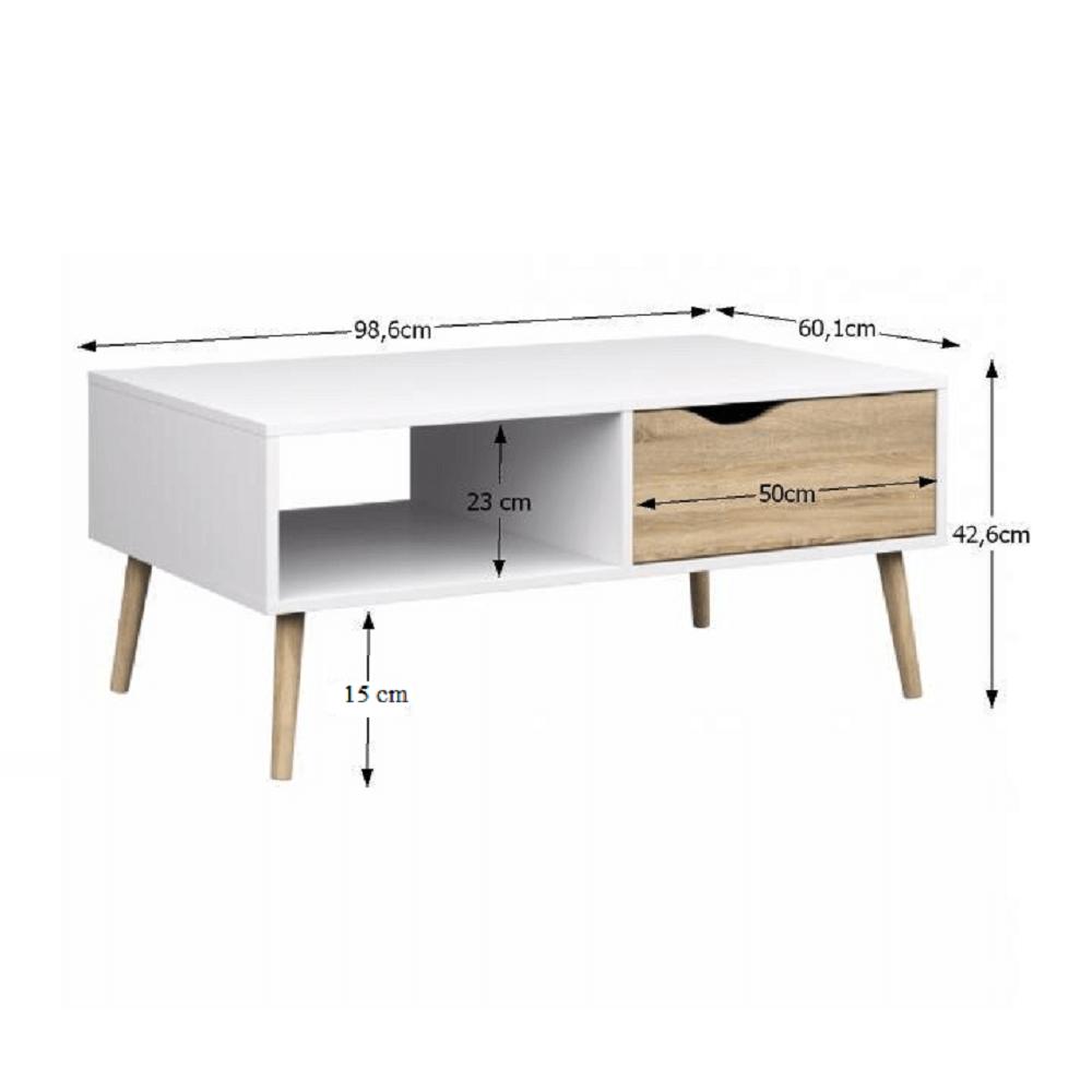 Dohányzóasztal, tölgy sonoma / fehér, OSLO 75384