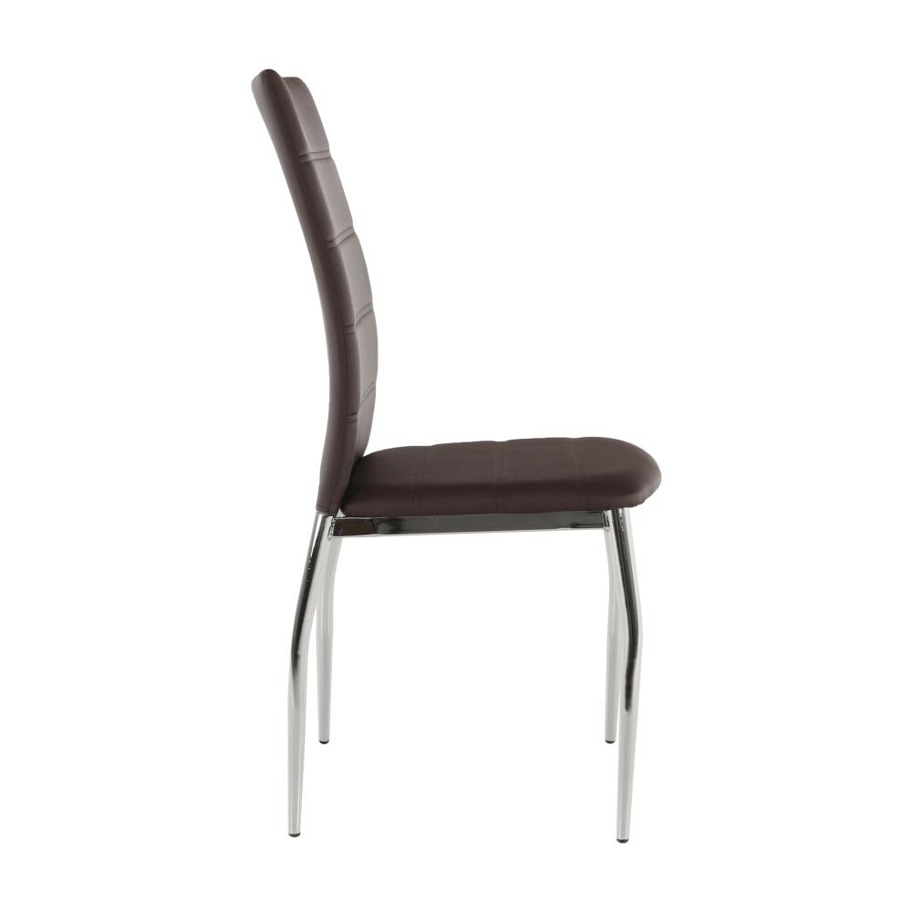Jídelní židle, ekokůže hnědá / chrom, DELA, TEMPO KONDELA