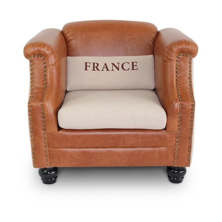 Fotel,bézs színű szövet/barna bőr, FRANCE