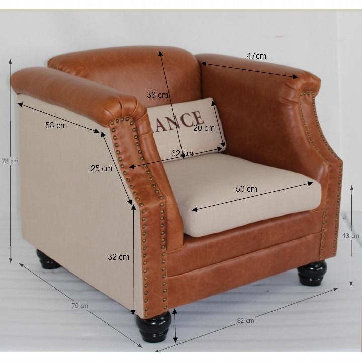 Fotel, bézs szövet/barna bőr, FRANCE