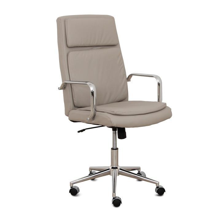Kancelárske kreslo, sivo-béžová ekokoža + chróm, ERNY