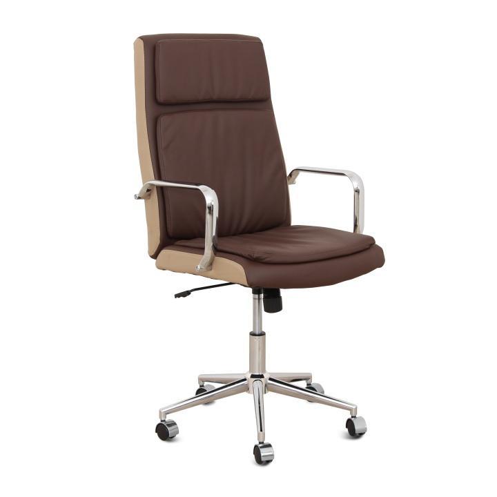 Kancelárske kreslo, tmavohnedá/béžová ekokoža + chróm, ERNY