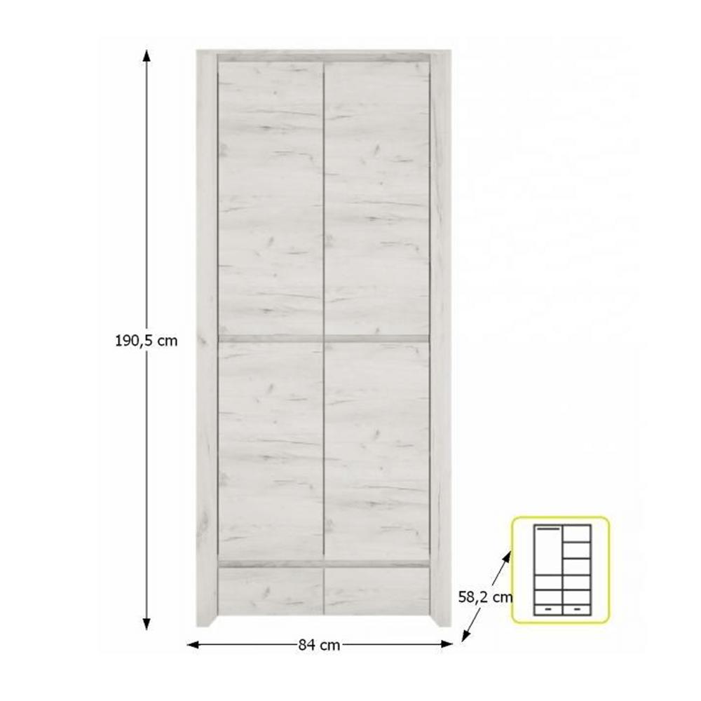 szekrény typ 20, fehér craft, ANGEL