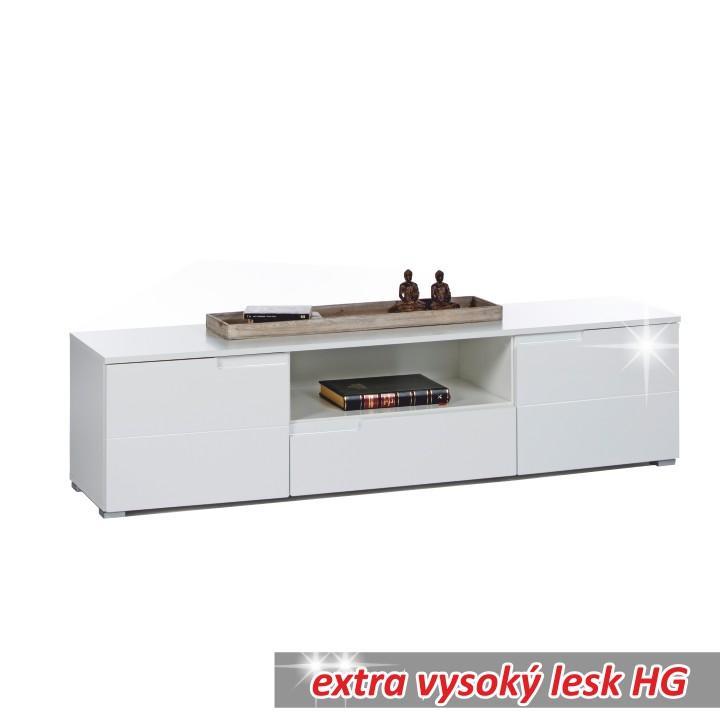 TV asztal/szekrény, fehér extra magas fényű HG, SPICE RTV