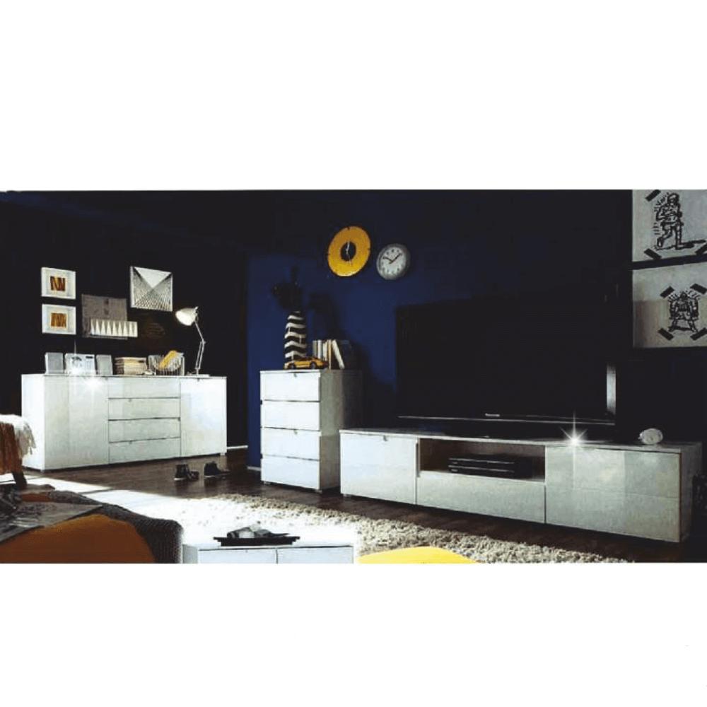 RTV stolek, bílá extra vysoký lesk, SPICE, TEMPO KONDELA