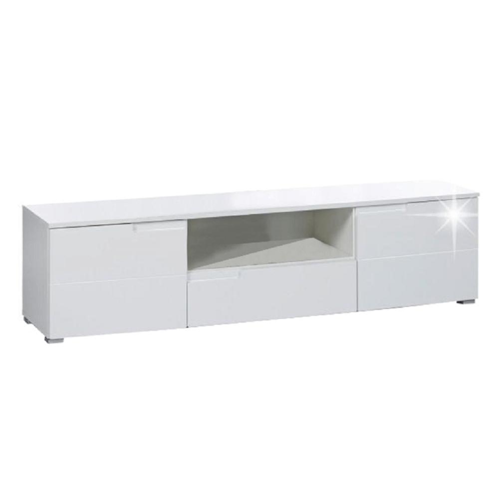 RTV stolík, biela extra vysoký lesk, SPICE