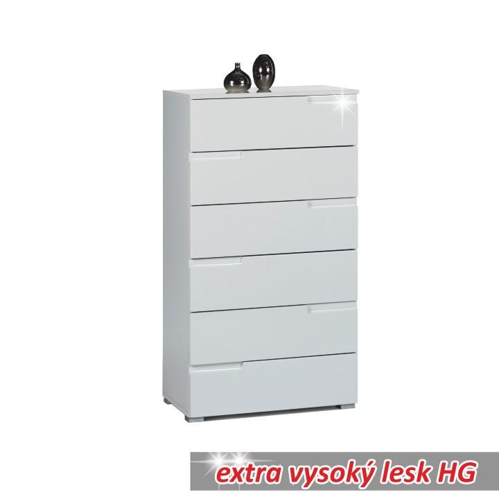6 zásuvková komoda, biela extra vysoký lesk HG, SPICE 6