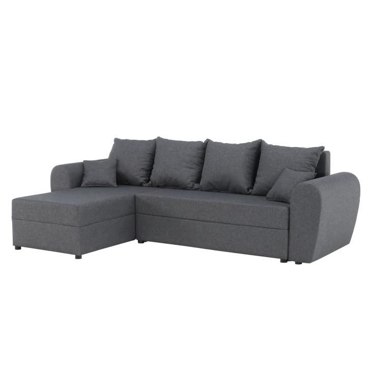 TEMPO KONDELA Rohová sedacia súprava, rozklad, úložný priestor, sivá, ROMA NEW